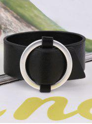 PU Leather Metal Circle Bracelet - BLACK