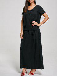V Neck Tassel Maxi Dress with Short Sleeves