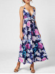 Plunge Floral Crisscross Backless Maxi Slip Dress