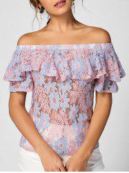 Floral Lace Ruffle Off The Shoulder Top