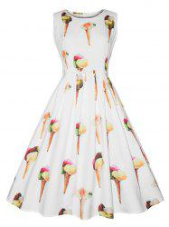 Vintage Ice Cream Print Fit and Flare Dress