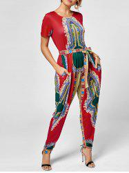 Tribe Print Jumpsuit - RED
