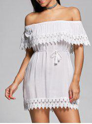 Off The Shoulder Lace Insert Mini Shift Dress
