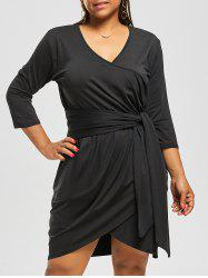 Plus Size Belted V Neck Dress with Sleeves