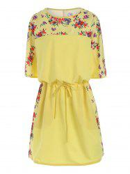 Plus Size Floral Drawstring Blouson Dress