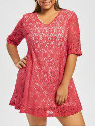 Plus Size Mini V Neck Lace  Dress