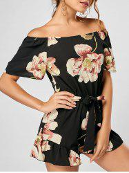 Floral Off The Shoulder Romper - Noir