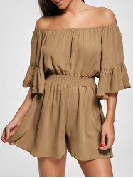 Ruffle Off The Shoulder Romper - Brun 2XL