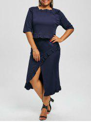 Plus Size Crop Top and Flounce Slit Skirt Twinset