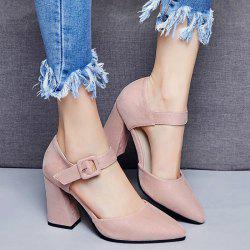 Chunky Heel Buckled Point Toe Pumps
