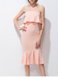 Ruffled Strapless Fishtail Party Dress