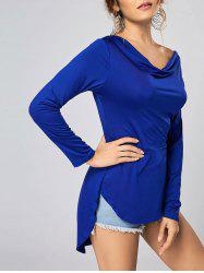 Heaps Collar High Low T-shirt with Long Sleeve