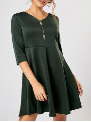 V Neck Mini Fit and Flare Dress