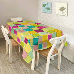Colorful Plaid Print Home Decor Fabric Table Cloth - COLORFUL