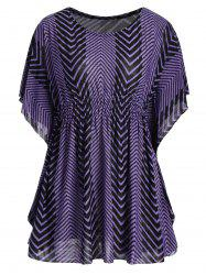 Butterfly Sleeve Zig Zag Plus Size Tunic Top