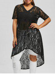 Plus Size V Neck High Low Lace Top