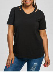 Plus Size V Neck Cut Out Tee