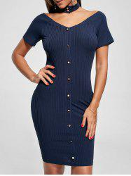 Single Breasted Ribbed Fitted Dress