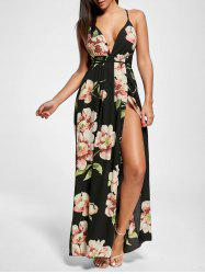 Floral Slit Backless Maxi Slip Plunge Dress - BLACK