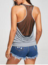 Sheer Raceback Scoop Neck Tank Top - GRAY M
