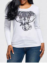 Mandala Elephant Head Print Long Sleeve T-shirt