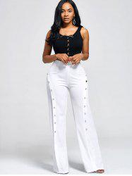 Buttons High Waist Boot Cut Pants - WHITE
