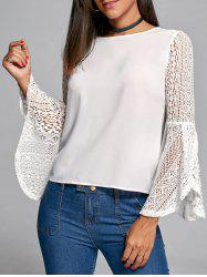 Flare Sleeve Lace Trim Blouse - WHITE