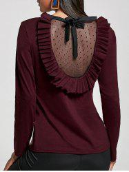 Ruffle Mesh Panel Long Sleeve Top