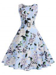 Vintage Floral Sleeveless A Line Dress - SKY BLUE
