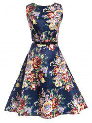 Floral Sleeveless Knee Length Vintage Dress