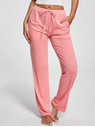 Vertical Pockets Drawstring Pants - PINK
