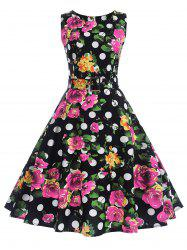 A Line Polka Dot Floral Vintage Dress -