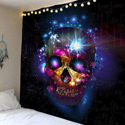 Home Decor Skull Print Wall Hanging Tapestry - Deep Blue - W91 Inch * L71 Inch