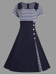 Striped Midi Plus Size Vintage Skater Dress -