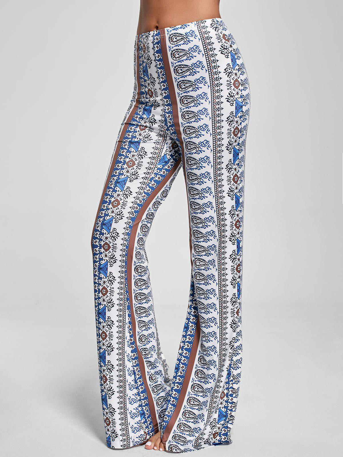 Flare Paisley Print Bohemian PantsWOMEN<br><br>Size: S; Color: WHITE; Style: Casual; Length: Overlength; Material: Polyester; Fit Type: Regular; Waist Type: High; Closure Type: Elastic Waist; Pattern Type: Paisley; Pant Style: Flare Pants; Weight: 0.2600kg; Package Contents: 1 x Pants;