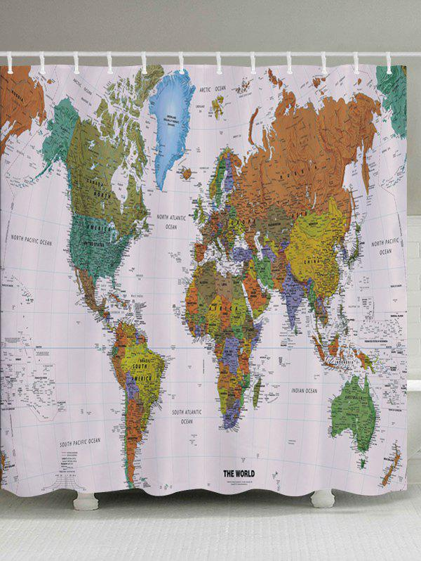 World Map Pattern Fabric Waterproof Bathroom Shower Curtain