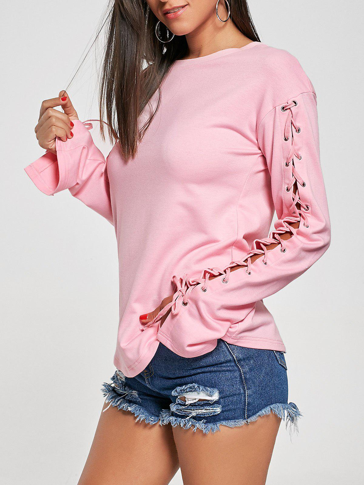 Crew Neck Lace Up TeeWOMEN<br><br>Size: XL; Color: PINK; Material: Cotton,Polyester,Spandex; Shirt Length: Regular; Sleeve Length: Full; Collar: Crew Neck; Style: Fashion; Pattern Type: Solid Color; Season: Fall,Spring; Weight: 0.3800kg; Package Contents: 1 x T-shirt;