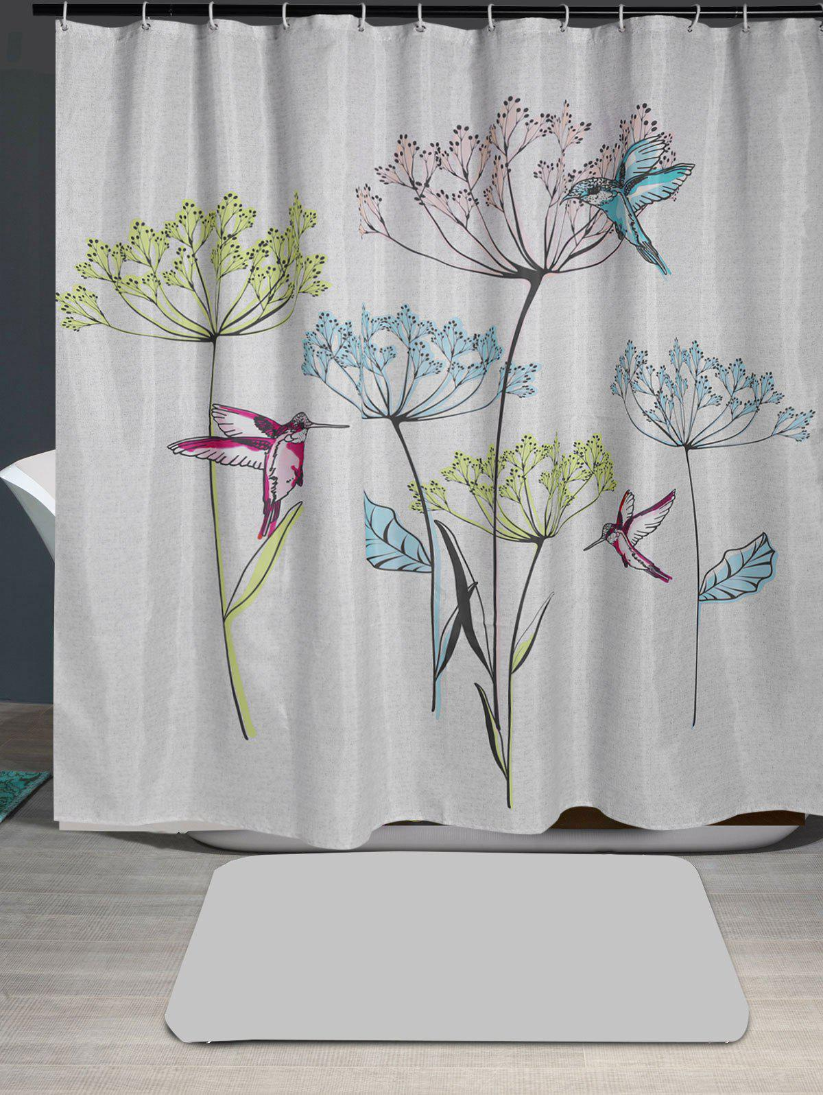 Latest Waterproof Dandelion Bird Print Shower Curtain