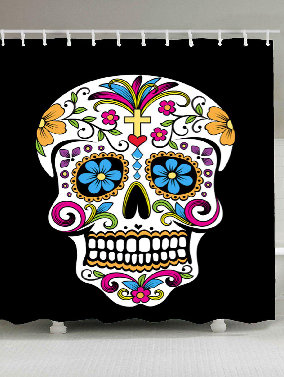 Skull Floral Waterproof Fabric Shower CurtainHOME<br><br>Size: W71 INCH * L79 INCH; Color: COLORFUL; Products Type: Shower Curtains; Materials: Polyester; Pattern: Skull; Style: Gothic; Number of Hook Holes: W59 inch*L71 inch: 10; W65 inch*L71 inch:12; W71 inch*L71 inch: 12; W71 inch*L79 inch: 12; Package Contents: 1 x Shower Curtain 1 x Hooks (Set);