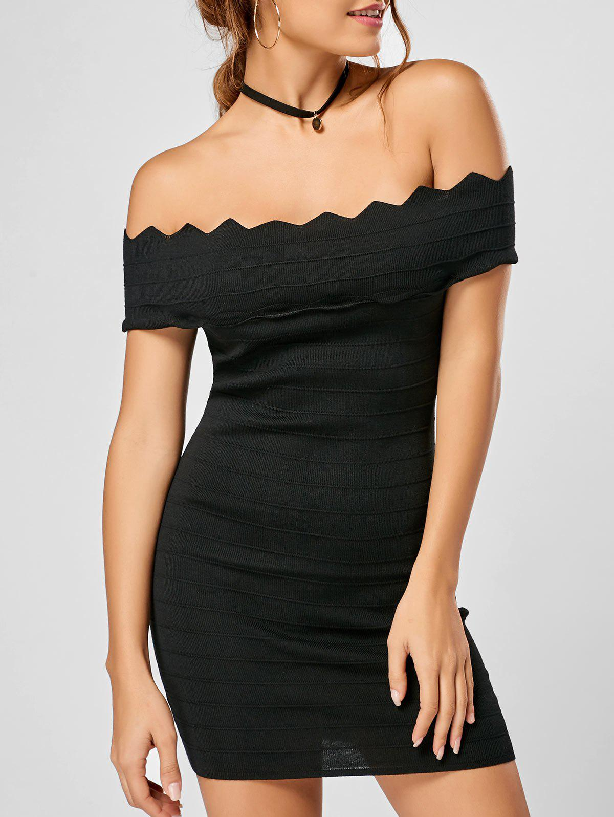 Best Off Shoulder Knitted Scalloped Tight Bodycon Dress