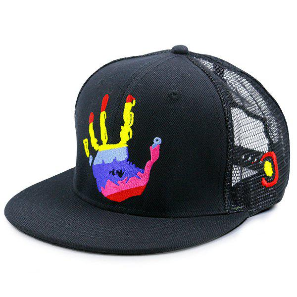 Mesh Spliced Multicolor Palm Printing Baseball HatACCESSORIES<br><br>Color: BLACK; Hat Type: Baseball Caps; Group: Adult; Gender: Unisex; Style: Fashion; Pattern Type: Others; Material: Polyester; Weight: 0.1000kg; Package Contents: 1 x Hat;