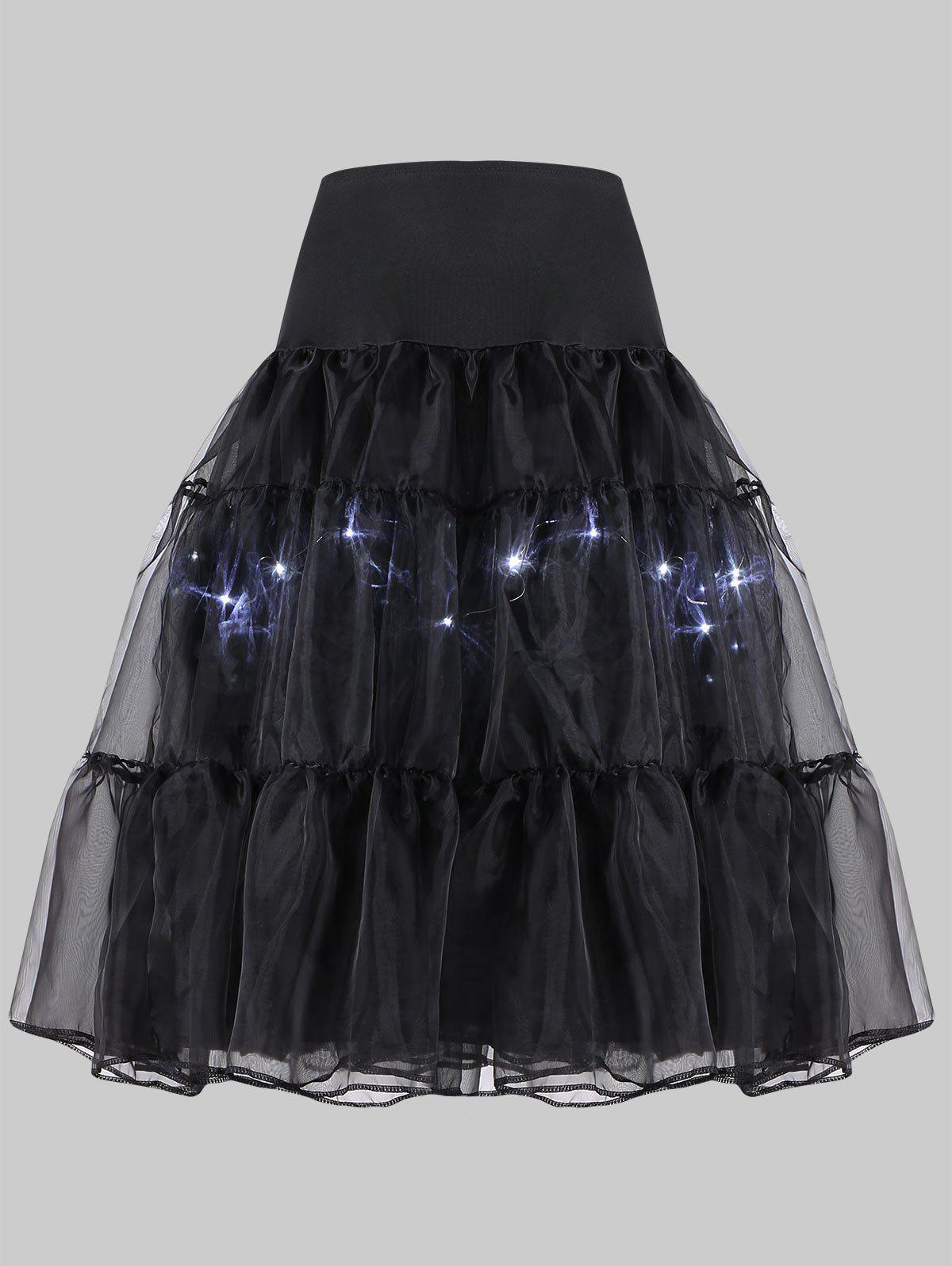 Plus Size Cosplay Light Up Party SkirtWOMEN<br><br>Size: 6XL; Color: BLACK; Material: Polyester; Pattern Type: Solid; Embellishment: Ruffles; Weight: 0.2500kg; Package Contents: 1 x Skirt;