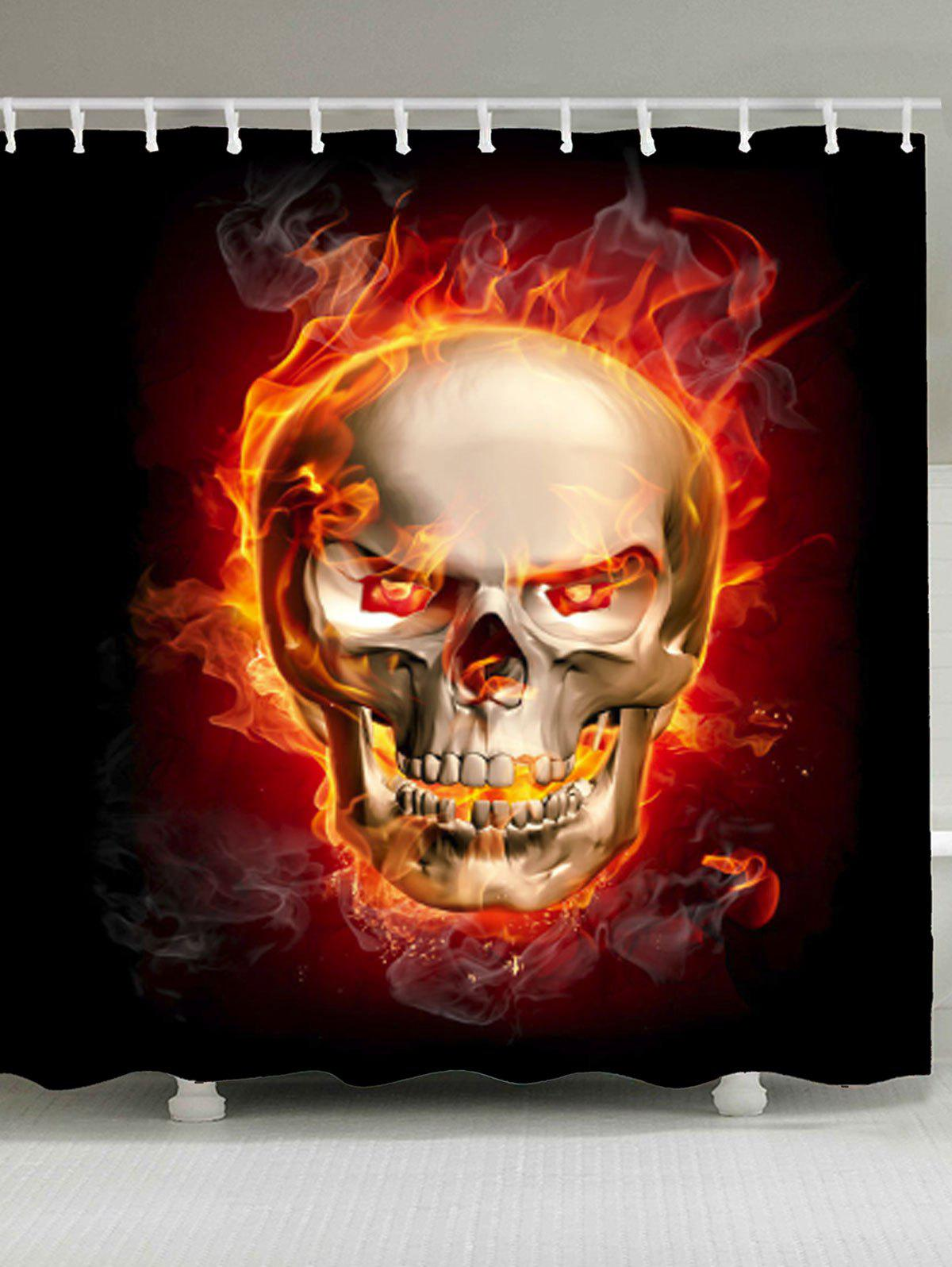 Sale Skull In Fire Waterproof Fabric Shower Curtain