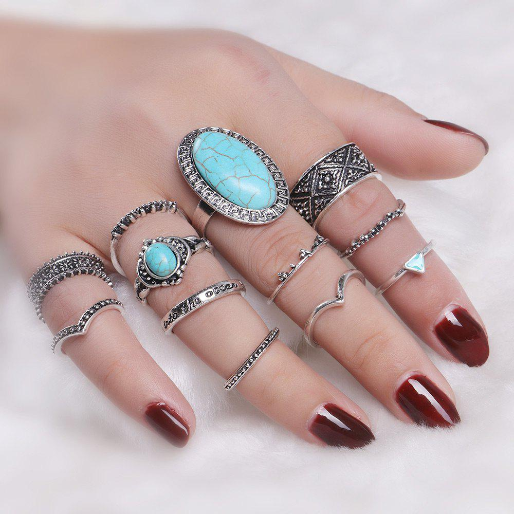 Faux Turquoise Oval Boho Ring SetJEWELRY<br><br>Color: SILVER; Gender: For Women; Metal Type: Alloy; Style: Trendy; Shape/Pattern: Geometric; Weight: 0.0500kg; Package Contents: 12 x Rings (Piece);