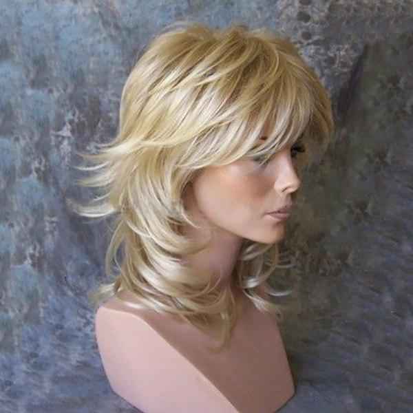 Best Medium Inclined Bang Tail Upwards Layered Slightly Curly Human Hair Wig