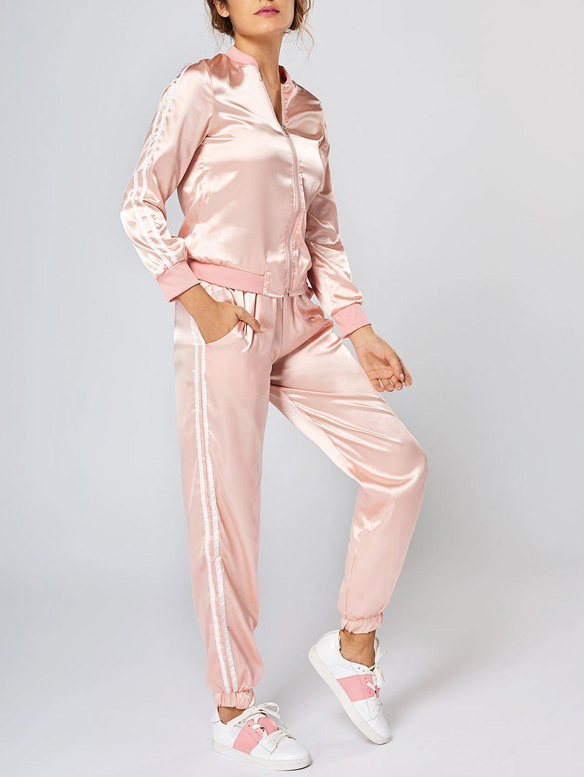New Striped Zippered Two Piece Tracksuit