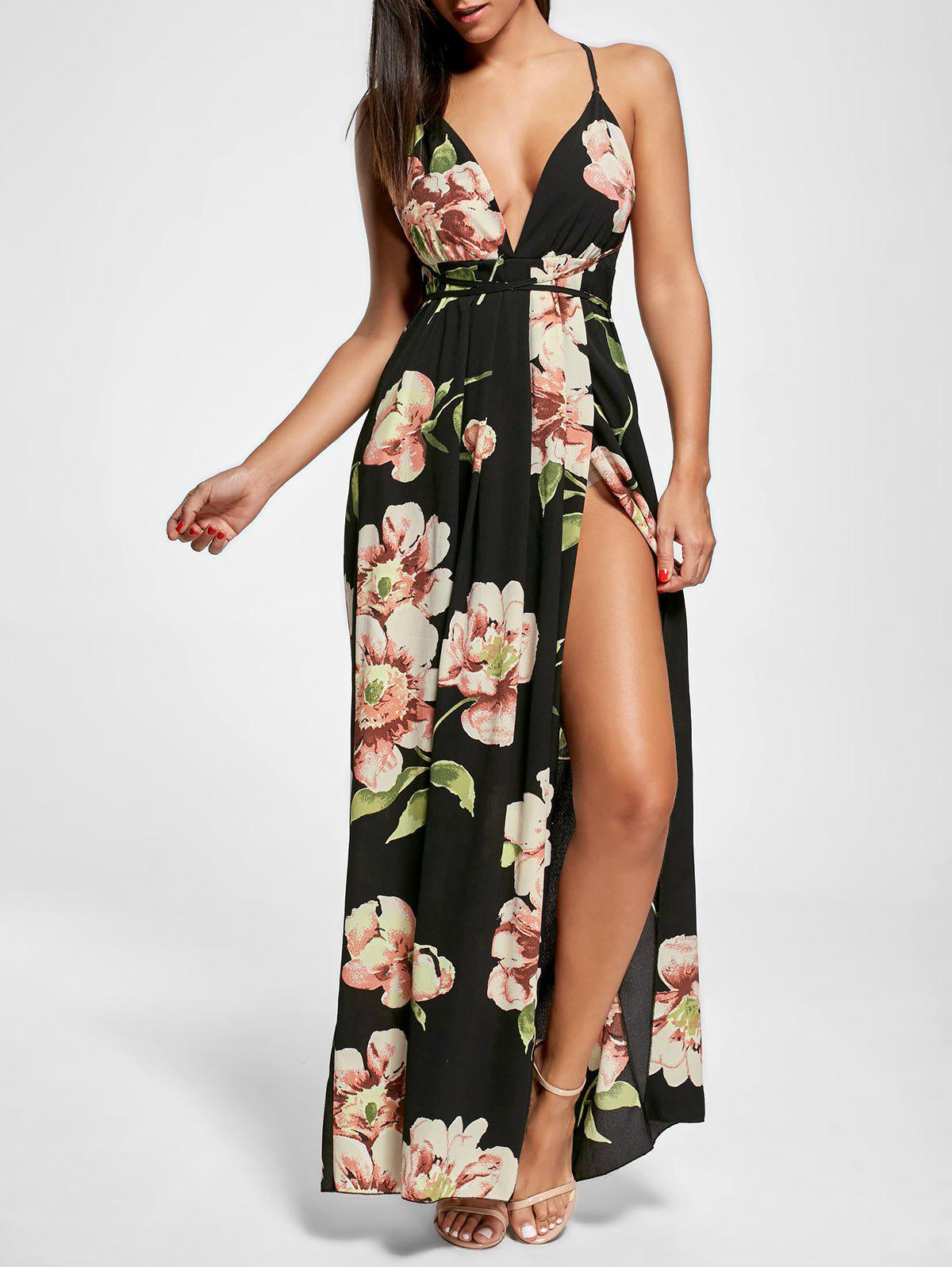 Floral Slit Backless Maxi Slip Plunge DressWOMEN<br><br>Size: M; Color: BLACK; Style: Sexy &amp; Club; Material: Polyester; Silhouette: Straight; Dresses Length: Floor-Length; Neckline: Spaghetti Strap; Sleeve Length: Sleeveless; Embellishment: Backless,Slit; Pattern Type: Floral; With Belt: No; Season: Summer; Weight: 0.3700kg; Package Contents: 1 x Dress;