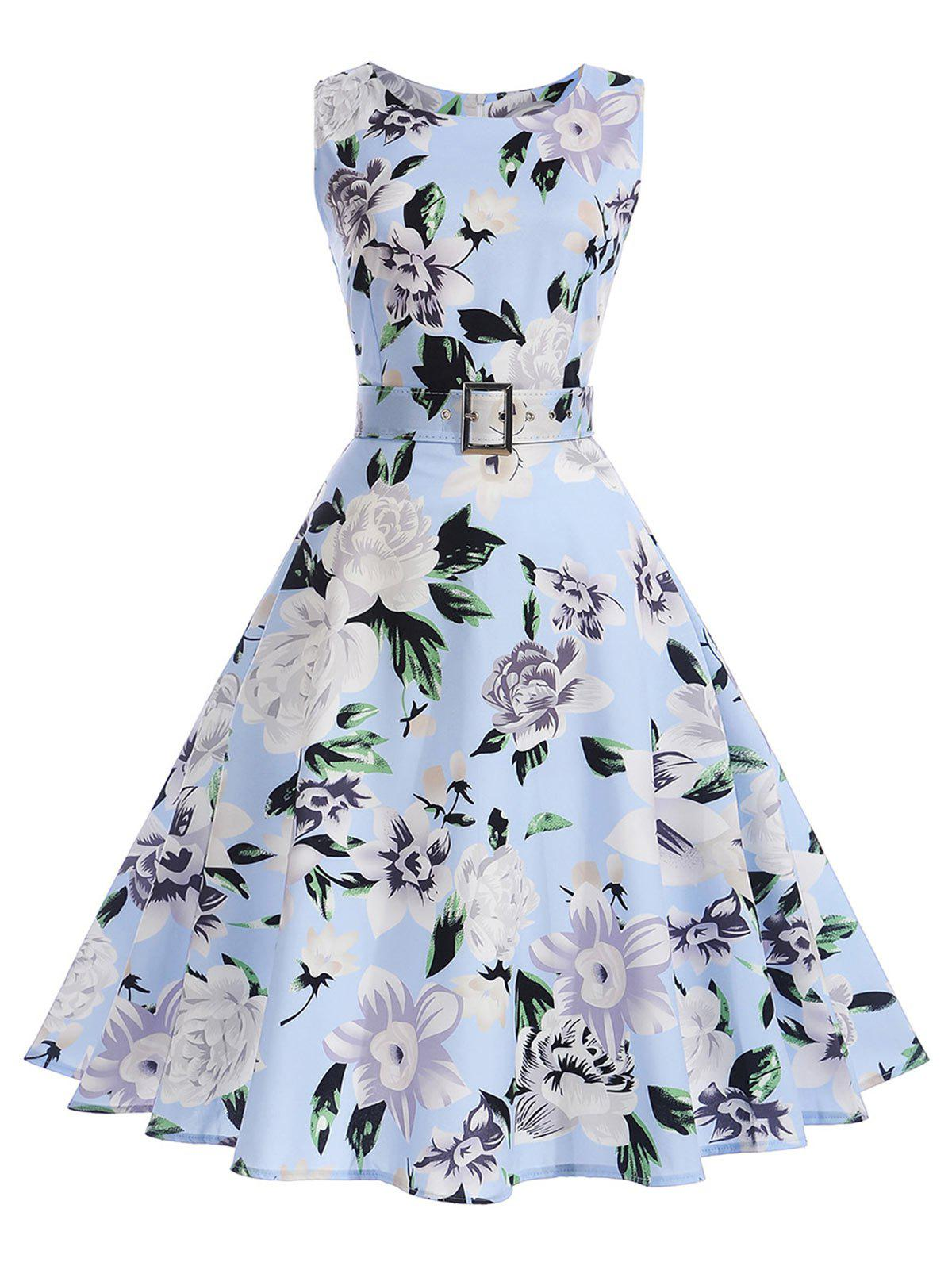Vintage Floral Sleeveless A Line DressWOMEN<br><br>Size: 2XL; Color: SKY BLUE; Style: Vintage; Material: Polyester; Silhouette: A-Line; Dresses Length: Mid-Calf; Neckline: Round Collar; Sleeve Length: Sleeveless; Pattern Type: Floral; With Belt: Yes; Season: Summer; Weight: 0.3000kg; Package Contents: 1 x Dress  1 x Belt;