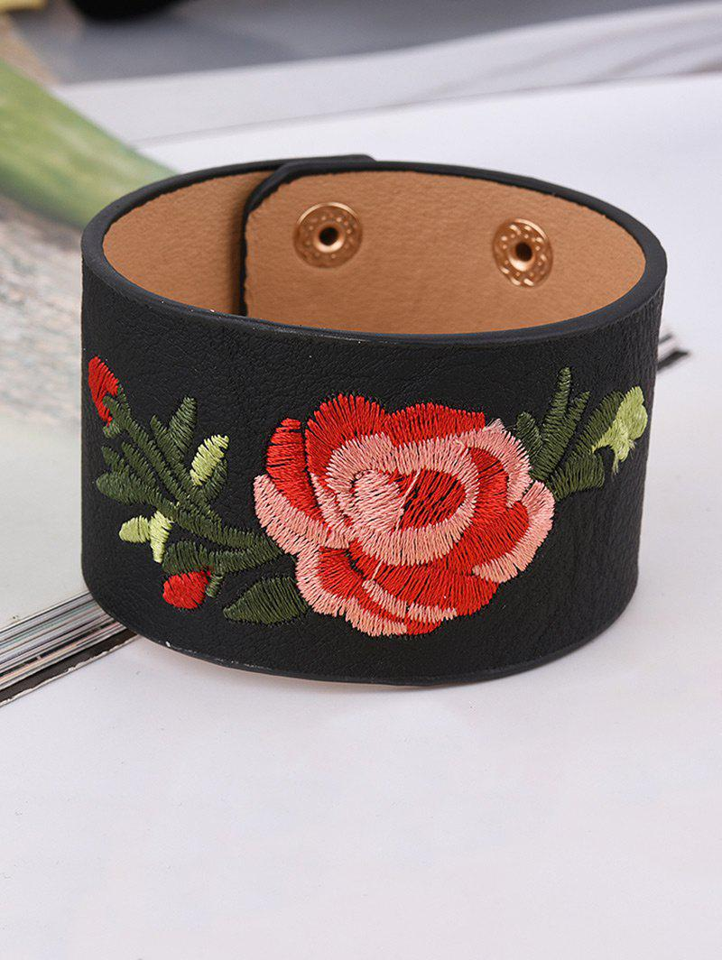 Shop Faux Leather Chinese Flower Embroidery Bracelet