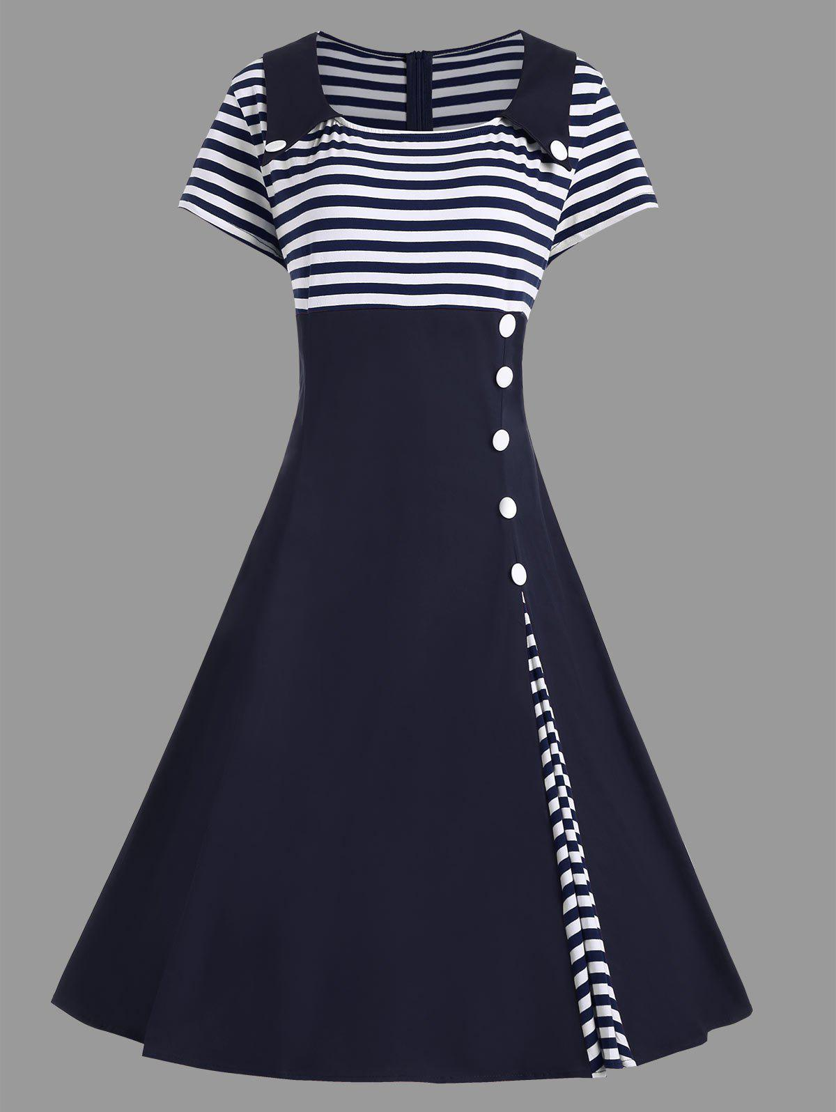 Striped Midi Plus Size Vintage Skater DressWOMEN<br><br>Size: 2XL; Color: PURPLISH BLUE; Style: Vintage; Material: Polyester; Silhouette: A-Line; Dresses Length: Mid-Calf; Neckline: Square Collar; Sleeve Length: Short Sleeves; Pattern Type: Striped; With Belt: No; Season: Summer; Weight: 0.4700kg; Package Contents: 1 x Dress;